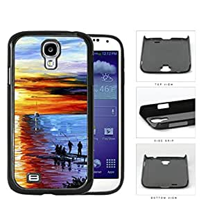 Men Fishing On Water Front Dock Overlooking The Sunset Oil Painting [Samsung Galaxy S4 I9500] Hard Snap on Plastic Cell Phone Cover