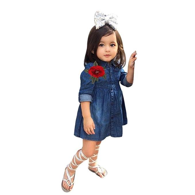 K Youth Vestido Para Bebés Ropa Niña Flor De Mezclilla De Manga Larga Trajes De Vestir Princesa Vestidos Niña Vestido De Fiesta 2018 Ofertas