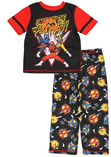 [Power Rangers Big Boys' 2pc Sleepwear Set, Black, Small (6-7)] (Yellow Power Ranger Outfit)