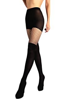 Intimate Portal Women S Fake It Thigh High Opaque Tights Nude Sheer One Size Fits 5 5 6 At Amazon Women S Clothing Store