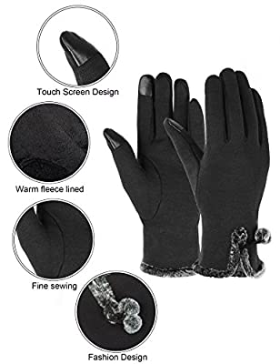Winter Gloves for Women with Touch Screen Fingers Warm Texting Mittens