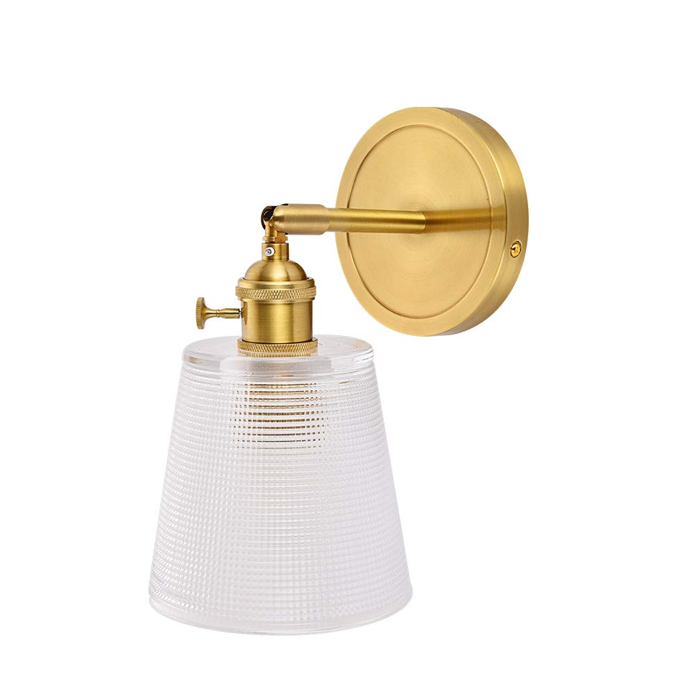 Brass Wall Sconce - Industrial Indoor Wall Lamp with Glass Shade by YIOSI