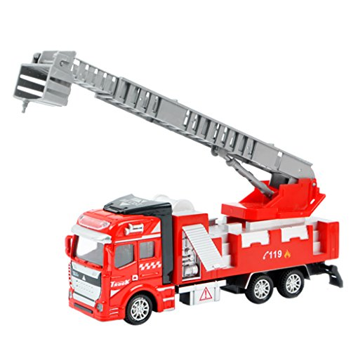 1:48 Scale Alloy Construction Vehicle Playset Pull Back Action Diecast Car Model Toys Fire Engine Rescue Aerial Ladder Truck Toys for Preschool Toddler Kids Children 3+ Years, Xmas Gift
