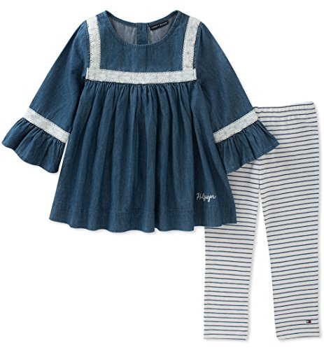Tommy Hilfiger Jeans Pants - Tommy Hilfiger Little Girls' Denim Tunic Set, Dark Wash Blue/Stripes, 5