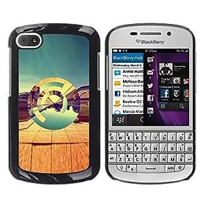 Be Good Phone Accessory // Dura Cáscara cubierta Protectora Caso Carcasa Funda de Protección para BlackBerry Q10 // Desert Abstract 3D Teal Art Design Nature