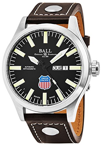 Black Swiss Face (Ball Engineer II Union Pacific Big Boy Limited Edition Day Date Black Face Swiss Automatic Brown Leather Strap Mens Watch NM1080C-L2-BK)