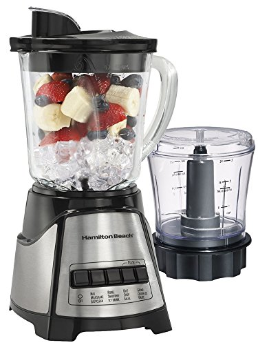 Power Elite Blender & Chopper- Countertop Blender- Black, Stainless Steel- Detachable Blade- Serrated Blades- Glass and Plastic Jar Material- Plastic Lid Material- 40 Ounces Jar Capacity