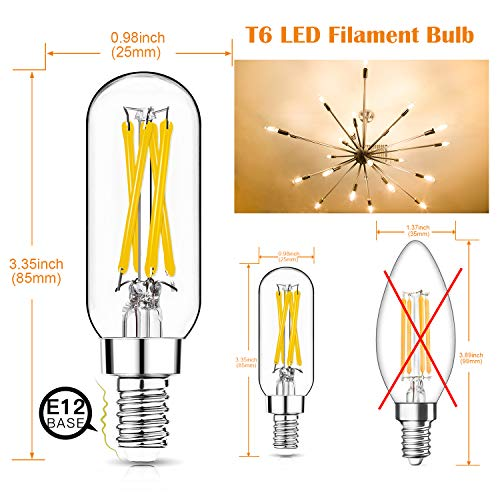 Dimmable T6 LED Bulbs, 40W Candelabra Light Bulbs 2700K Warm White, Clear Vintage 4W E12 Edison Bulb, Small Filament LED Light Bulb for Chandelier, Ceiling Fan, Pendant , Wall Sconce Fixtures, 12 Pack