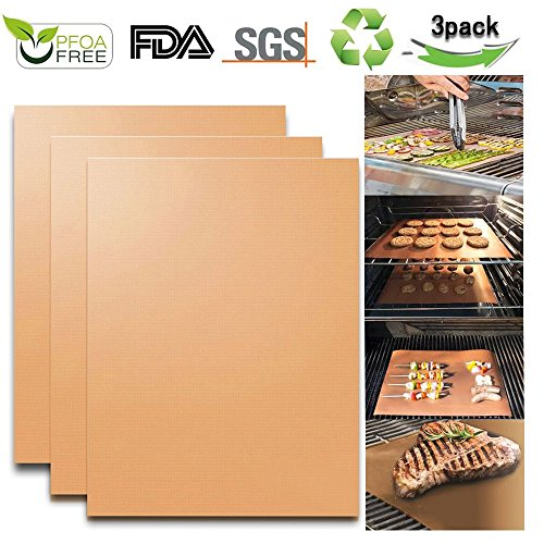 KITHOM Non-Stick Grill Mat - Heavy Duty BBQ and Bake Mats, Heat Resistant, FDA Approved, PFOA Free, Reusable, Durable, Works on Gas, Charcoal, Electric Grill, Set of 3-13 x 15.75 Inch (copper) by KITHOM