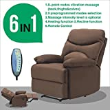 Mecor Microfiber Recliner Massage Chair, Heated Vibrating Sofa Ergonomic Lounge 8 Point Massage Remote Living Room Chairs (Chocolate)