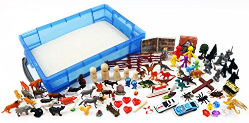 Play Therapy Sand Tray Basic Portable Starter Kit with Tray, Sand, and (Basic Starter Kit)