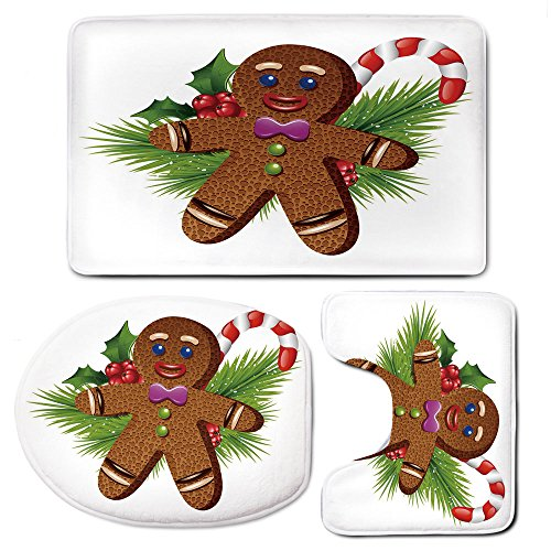 Rug Mats Set 3 Piece,Gingerbread ManMemory Foam Extra Soft Shower Bath Rugs – Contour Mat and Lid Cover,Cute Tasty Pastry on Coniferous Branches Candy Cane and Holly Berry Decorative