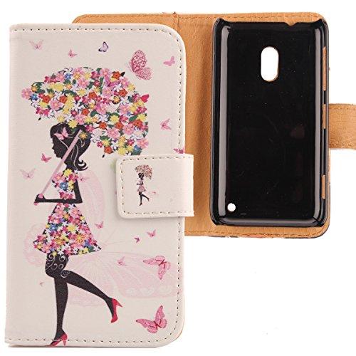 Lankashi Leather Cover Skin Protection Case for Nokia Lumia 620 Painted Design (Umbrella Girl)