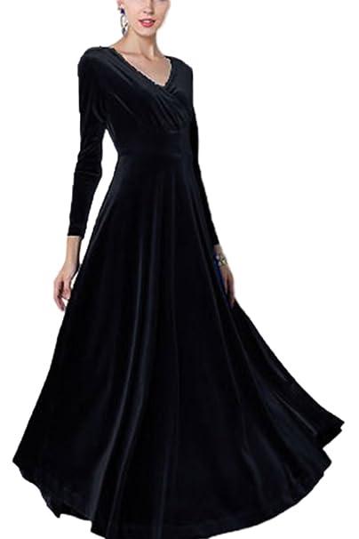 cheap for discount 1b1f1 cade2 Sevozimda Damen Samt Kleider Lang Langarm V-Ausschnitt Elegant Party Maxi  Kleid