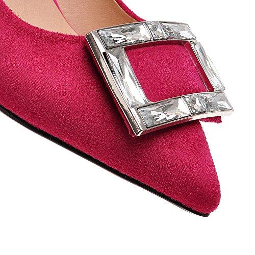 Minivog Vrouwen Vierkante Gesp Puntschoen Hoge Pomp Schoenen Rose Rood