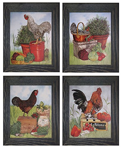 Rooster Chicken Farm Animal Four 8x10 Set Black Framed Picture Kitchen Wall Decor Art Print Posters