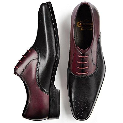 Gifennse Heren Veter Oxford-jurk Klassieke Schoenen Zwart En Rood