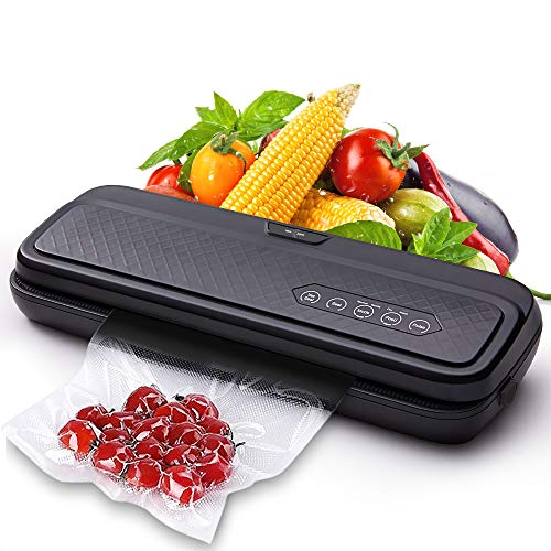 Vacuum Sealer Machine Automatic Air Sealing System Start Kit for Food Preservation with 10 Sealer Bags Sous Vide Cooking Commercial Grade Dry Moist Modes (Black)
