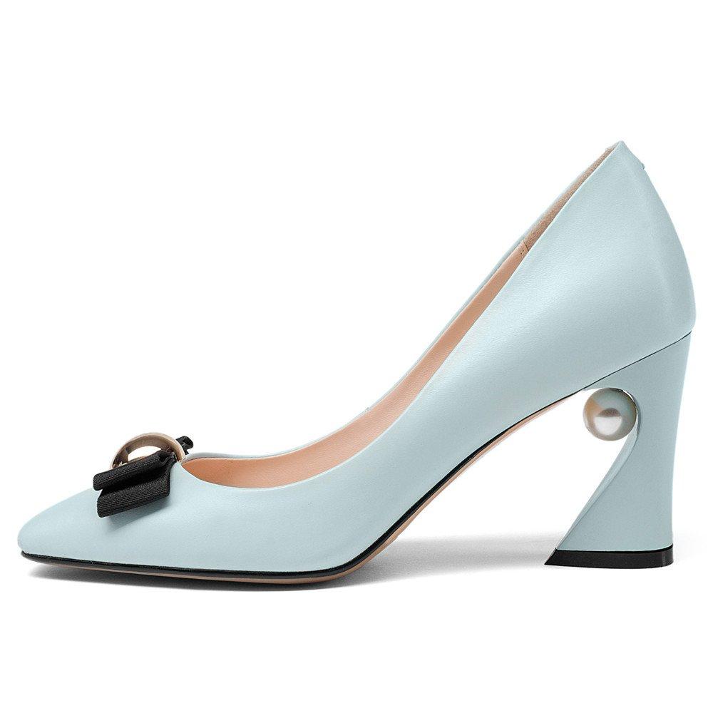 Nine Seven Women's Retro Chunky Heels - Square Toe Handmade Elegant Spool Heel Pumps with Bow Pearl B07B5ZGGGZ 8.5 B(M) US Blue