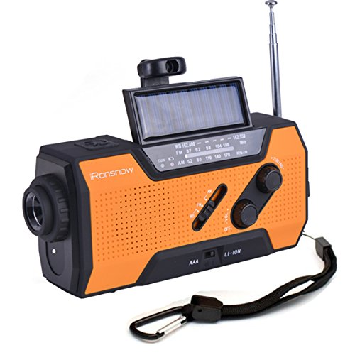 iRonsnow IS-090 Dynamo Emergency Solar Hand Crank Self Powered AM/FM/NOAA Weather Radio, with 2000mAh Power Bank, Flashlight, Reading Lamp and SOS Alarm (Orange)