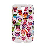 Colorful Happy Owls Wise Hoot Rubberized Phone Case SAMSUNG GALAXY MEGA i527 6.3 + FREE PRIMO DESIGN CARTOON FOLDABLE TOTE BAG