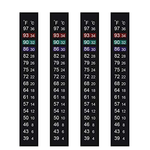 Jansamn Brewing Thermometer Strip, Adhesive Strip Thermometer, Aquarium Thermometer Sticker,Thermometer Sticker Fish Tank/Kombucha,39℉ to 97℉ & 4℃ to 36℃ (4PCS) (Fish Tank Thermoter)