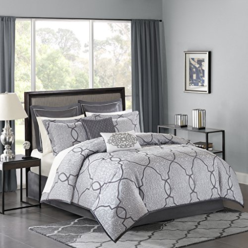 Madison Park MP10-4045 Lavine 12 Piece Jacquard Comforter Set, Silver, King - bedroomdesign.us