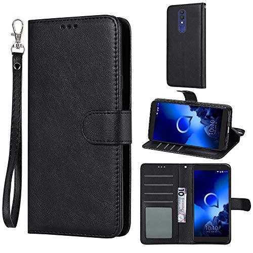 Case for Alcatel 1x (2019) / Alcatel Onyx, Everun Premium PU Leather Flip Wallet Case Cover for Alcatel 1X (2019) / Alcatel Onyx (Black)