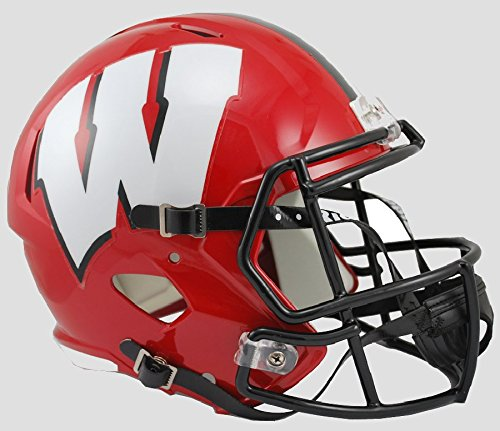 NCAA Wisconsin Badgers Alternate Full Size Speed Replica Helmet, Red, Medium (Riddell Wisconsin Badgers Replica Helmet)