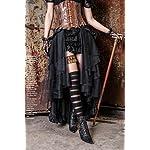 HaoLin Steampunk Retro Victorian Punk Cincher Lace up Long Ruffle Pencil Skirt Black 8