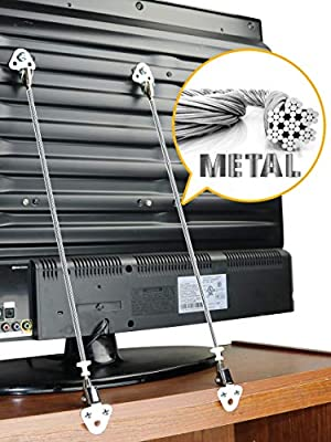 Metallic TV and Furniture Anti-Tip Straps | Sturdy Mounting Hardware Included | No Plastic - No Fabric - 100% Metallic Straps