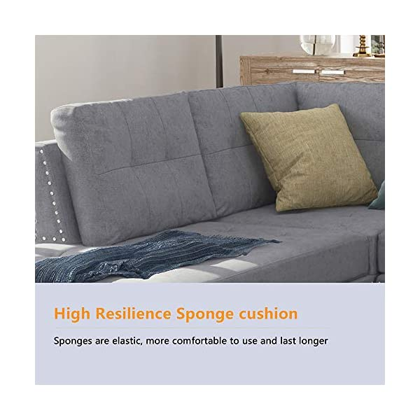 Magnificent Harper Bright Designs Sectional Sofa Couch With L Chaise Lounger And Storage Ottoman For Living Room Home Furniture Set Grey Inzonedesignstudio Interior Chair Design Inzonedesignstudiocom