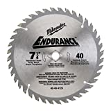 Milwaukee 48-40-4126 Endurance 7-1/4-Inch 40 Tooth ATB Thin Kerf Finishing Saw Blade with 5/8-Inch and Diamond Knockout Arbor
