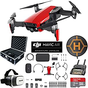 DJI Mavic Air Drone Combo 4K Wi-Fi Quadcopter with Remote Controller Mobile Go Bundle with Hard Case VR Goggles Landing Pad 16GB microSDHC Card and Cleaning Kit (Flame Red 3 Battery Fly More Combo)