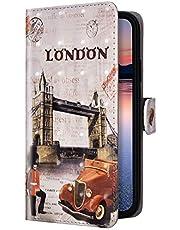 Uposao Compatible para Samsung Galaxy A20e Funda Piel PU Cuero Libro Flip Cover con Tapa,Glitter Brillante Purpurina Cubierta Billetera Soporte Plegable Ranura Tarjeta,Cierre Magnético,Londres