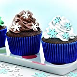 Pre Cut 52 Edible Cake Decoarations 1'' White & Blue snow flake for decorating cakes cookies