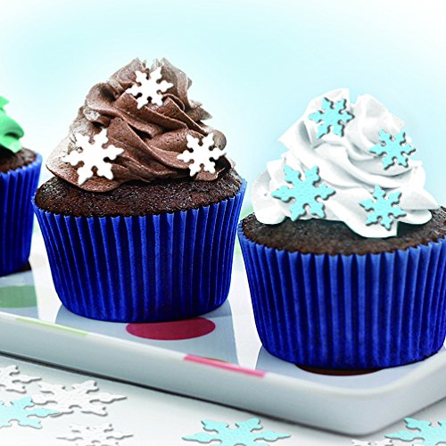 Decorating Snowflake Cookies (Pre Cut 52 Edible Cake Decoarations 1'' White & Blue snow flake for decorating cakes cookies)