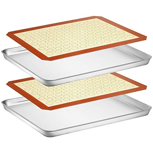 (Wildone Baking Sheet with Silicone Mat Set, Set of 4 (2 Sheets + 2 Mats), Wildone Stainless Steel Cookie Sheet Baking Pan with Silicone Mat, Size 16 x 12 x 1 inch, Non Toxic & Heavy Duty & Easy Clean)