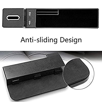 AUCD Car Console Side Pocket Seat Crevice Storage Organizer Seat Gap Pocket Organizer with Non-Slip Mat, Coin Box and 2 USB Charging Ports for Automotive Interior Accessories (Black): Automotive