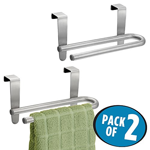 "mDesign Over-the-Cabinet Kitchen Dish Towel U-Bar Holder - Pack of 2, 6.5"", Brushed Stainless Steel"
