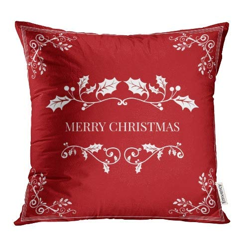 (luckyly Decorative Throw Pillow Covers Cases Christmas Signs Symbols Text Trees Reindeer Snowflakes Burning Candle Balls Boxes Bird Mittens Gingerbread Man 16x16 Inch Case Cover Cushion Two Sided)