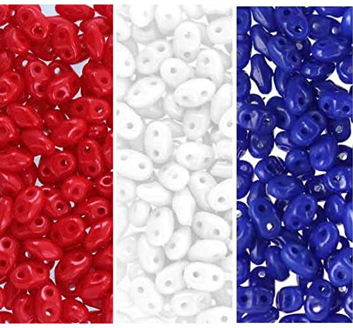 UnCommon Artistry Patriotic Red, White and Blue Colors Mix SuperDuo Czech Glass Seed Beads 2.5 x 5mm Opaque Blue, White, Opaque Red - 72 Grams