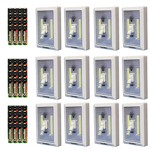 (LOT OF 12 Battery Operated (included) LED Switch light, 2 x Cob LED cordless night light, under the cabinet, shelf, kitchen, RV & boat, Closet)