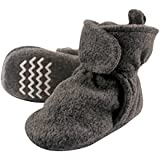 Hudson Baby Cozy Fleece Booties with Non Skid Bottom, Charcoal, 18-24 Months