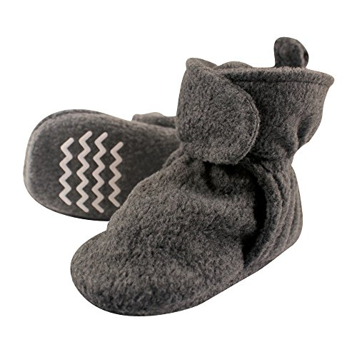 Hudson Baby Baby Cozy Fleece Booties with Non Skid Bottom, Charcoal, 12-18 Months