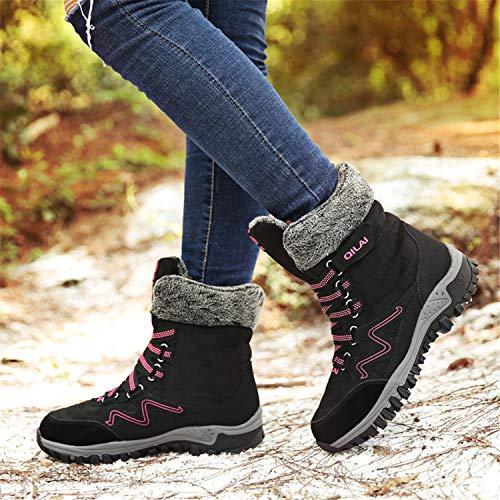 Chaussures Bottines De Hiver Neige Bottes Boots Fourrure Imperméable Randonnée Baskets Chaudes Femme Noir 4IPXw