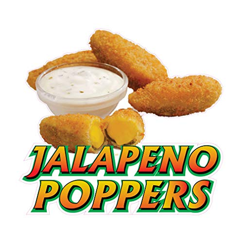 Die-Cut Sticker Multiple Sizes Jalapeno Poppers Style A Restaurant & Food Jalapeno Poppers Indoor Decal Concession Sign Golden Brown - 14in Longest Side