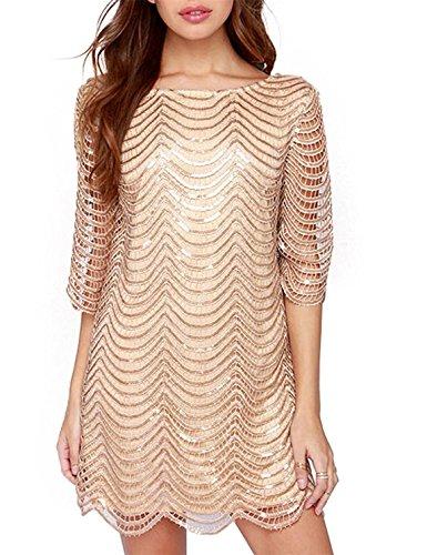 HAOYIHUI Womens Sparkly Wave Metallic Sequin Half Sleeve Party Dress