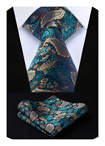 HISDERN Men's Paisley Silk Tie With Handkerchief Classic Necktie & Pocket Square Set (Aqua & - Tie And Tall Silk Big