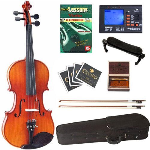 Cecilio CVN-320L Ebony Fitted Solid Wood Left-Handed Violin with Tuner and Lesson Book, Size 4/4 (Full Size) by Cecilio